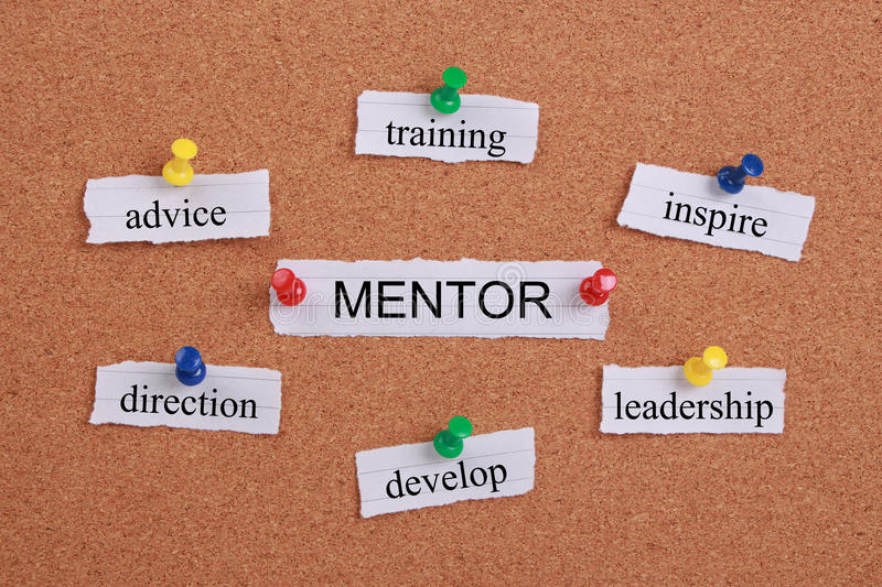Mentor concept. Mentor abstract concept typed paper notes and pinned to a cork notice board stock photo