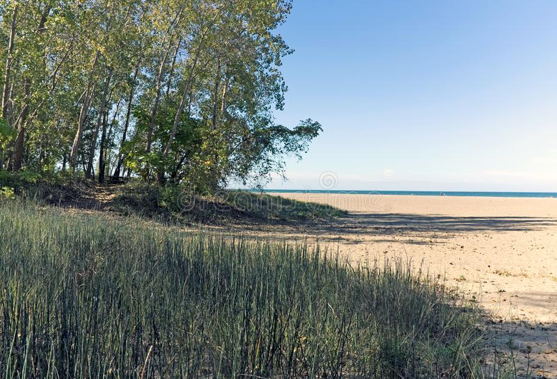 Mentor Headlands Beach and State Park Mentor Ohio. Early fall at Mentor Headlands Beach and State Park in Mentor, Ohio, USA. The beach is located in a suburb of stock photo