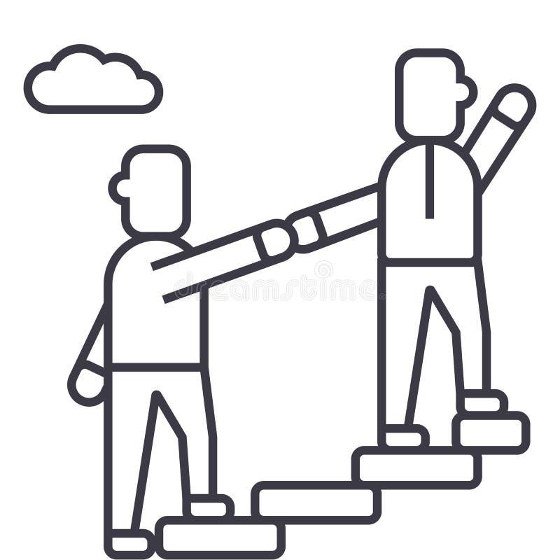 Mentor, helfend, Förderung und erzielen Zielvektorlinie Ikone, Zeichen, Illustration auf Hintergrund, editable Anschläge lizenzfreie abbildung