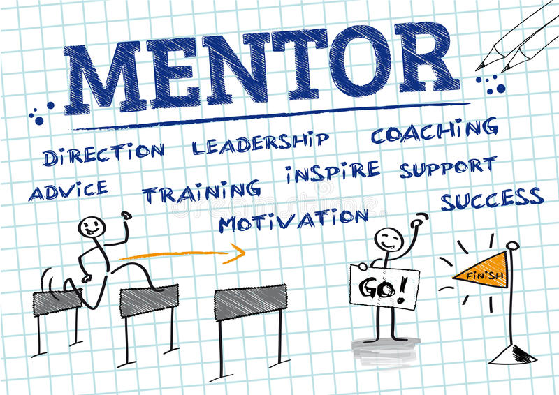 Mentor, Mentoring. Chart with english keywords, drawing. Mentorship is a personal developmental relationship in which a more experienced or more knowledgeable