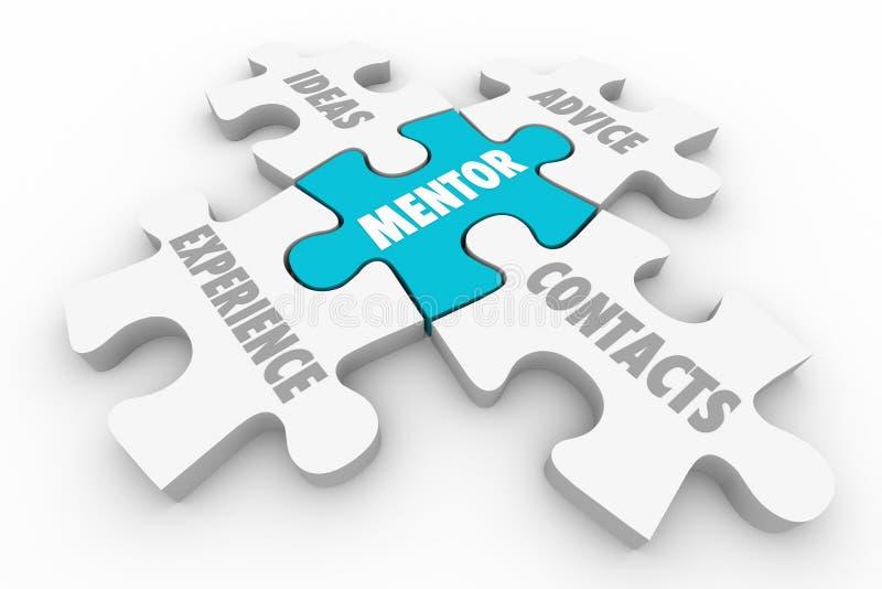 Mentor-Rateerfahrungs-Anleitung tritt mit Puzzlespiel-Stücken 3d Illu in Verbindung vektor abbildung