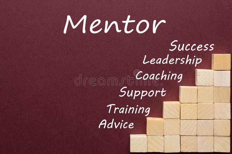 Mentor Diagram Concept. Mentor word and english keywords with wooden blocks in the shape of a staircase. Business concept royalty free stock photos