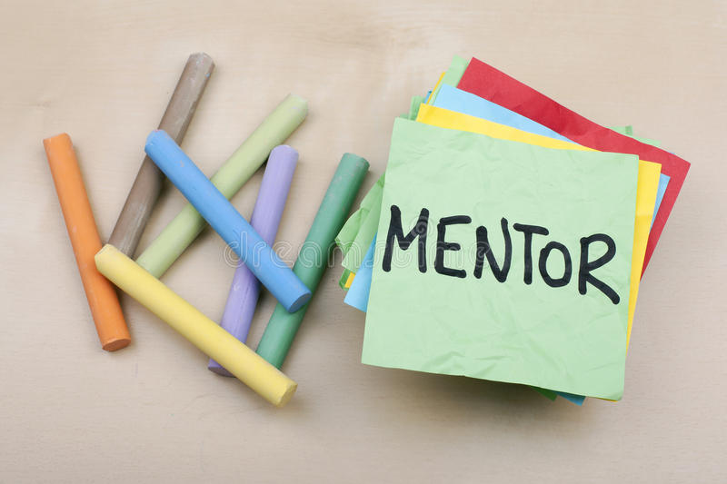 Mentor. Word note background concept stock image