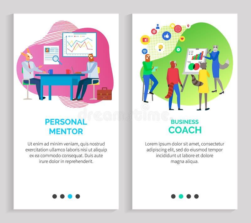 Mentor y coche profesionales Training del negocio ilustración del vector
