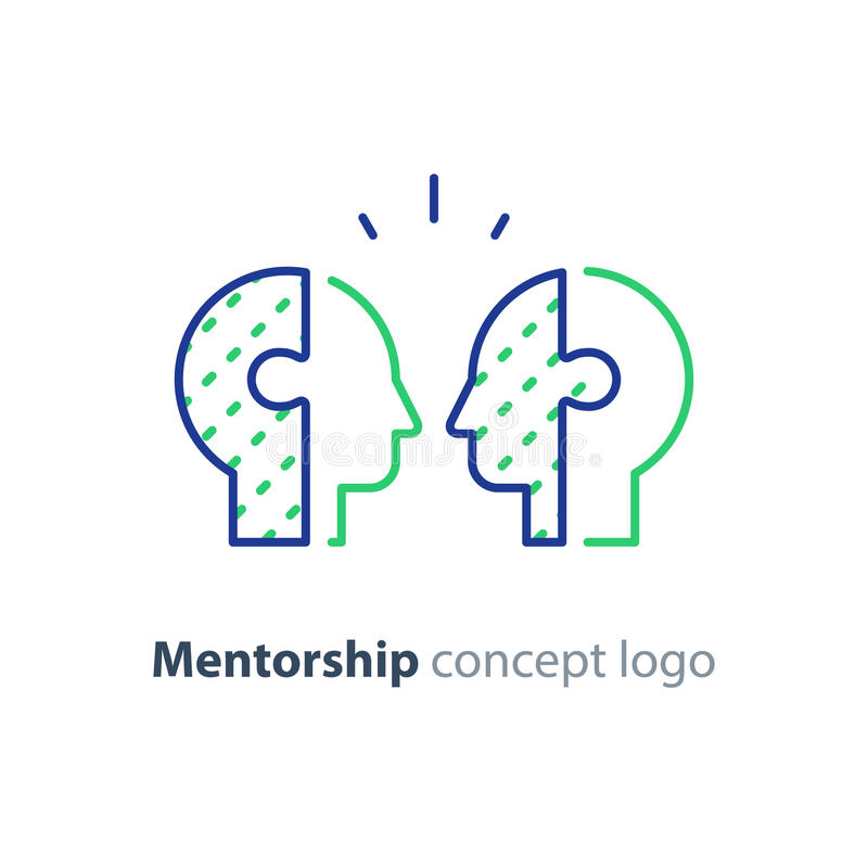 Mentorconcept, bilateraal hoofdenpictogram, psychologie, menselijke interraction vector illustratie