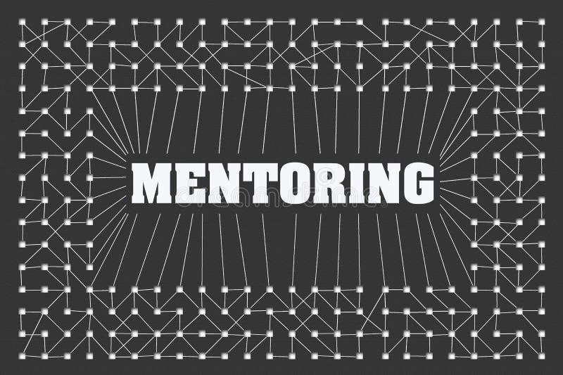 Mentoring έννοιας Πολλοί κύβοι που συνδέονται με τα λωρίδες σε ένα γκρίζο υπόβαθρο Επιχείρηση training ελεύθερη απεικόνιση δικαιώματος