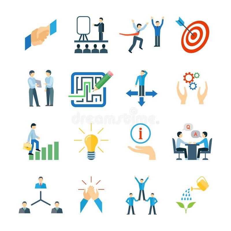 Mentoring επίπεδο σύνολο εικονιδίων διανυσματική απεικόνιση