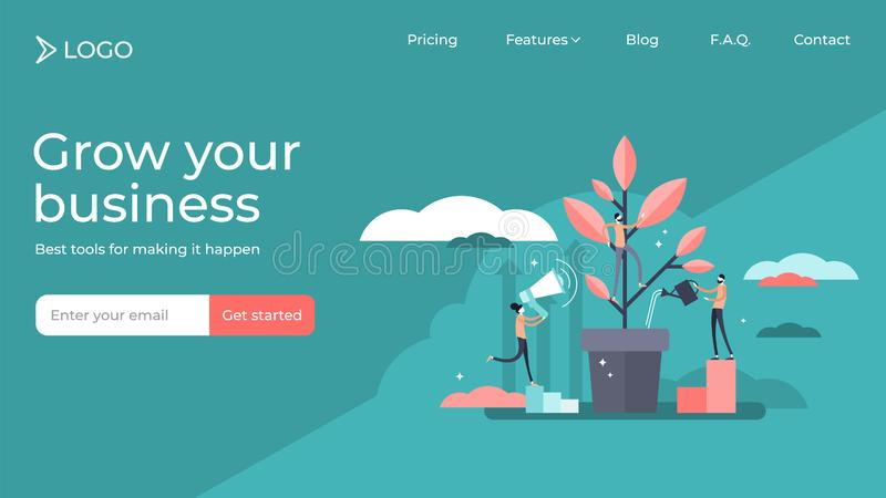 Mentoring flat tiny persons vector illustration landing page template design. royalty free illustration