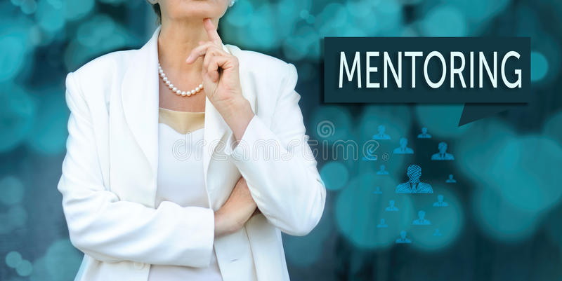 Mentoring and human resources concept. Senior leader businesswo stock photo