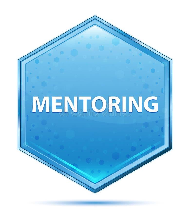 Mentoring crystal blue hexagon button vector illustration
