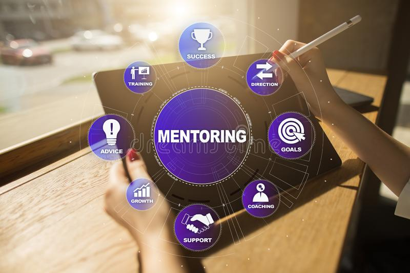 Mentoring och arbeta som privatlärare åt begreppsillustrationen på den faktiska skärmen arkivfoton