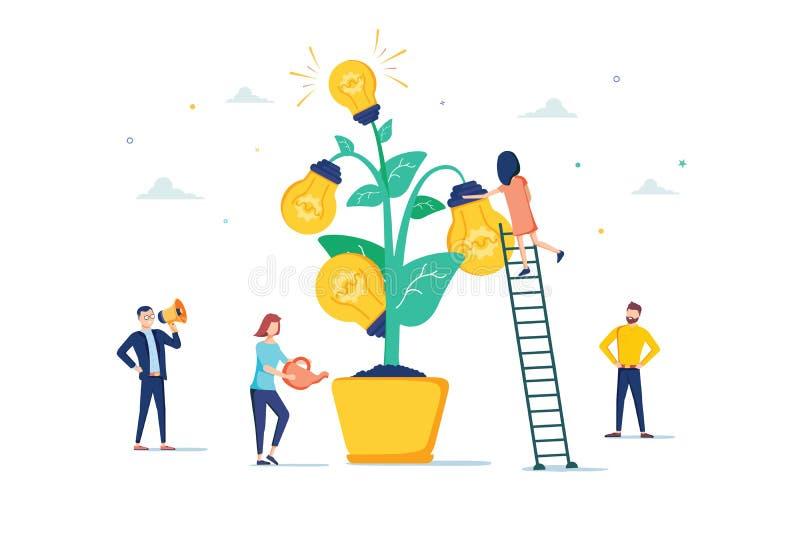 Mentoringvektorillustration Plant mycket litet begrepp för motivationsoffapersoner Lärare för anställdutbildningsutveckling royaltyfri illustrationer