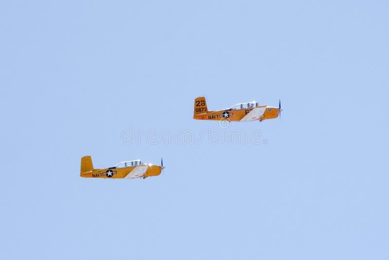 Mentors de Beechcraft T-34 volant dans la formation photographie stock libre de droits