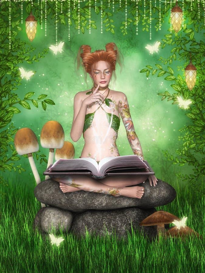 Mentre leggendo un libro magico royalty illustrazione gratis