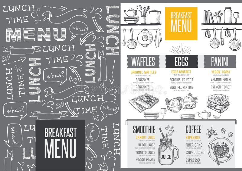 Menu śniadaniowa restauracja, karmowy szablonu placemat royalty ilustracja