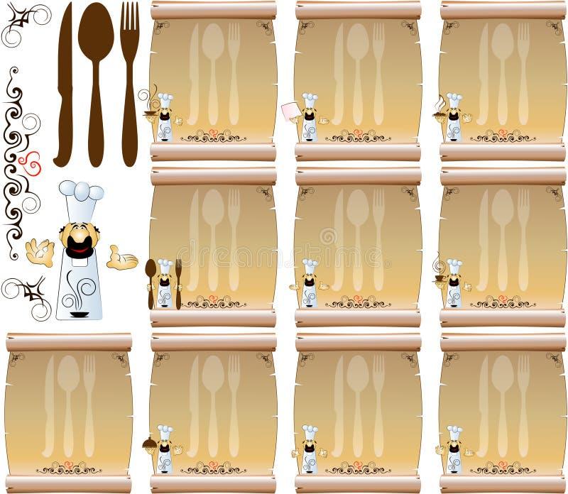 Menu 2 do restaurante do cozinheiro ilustração do vetor