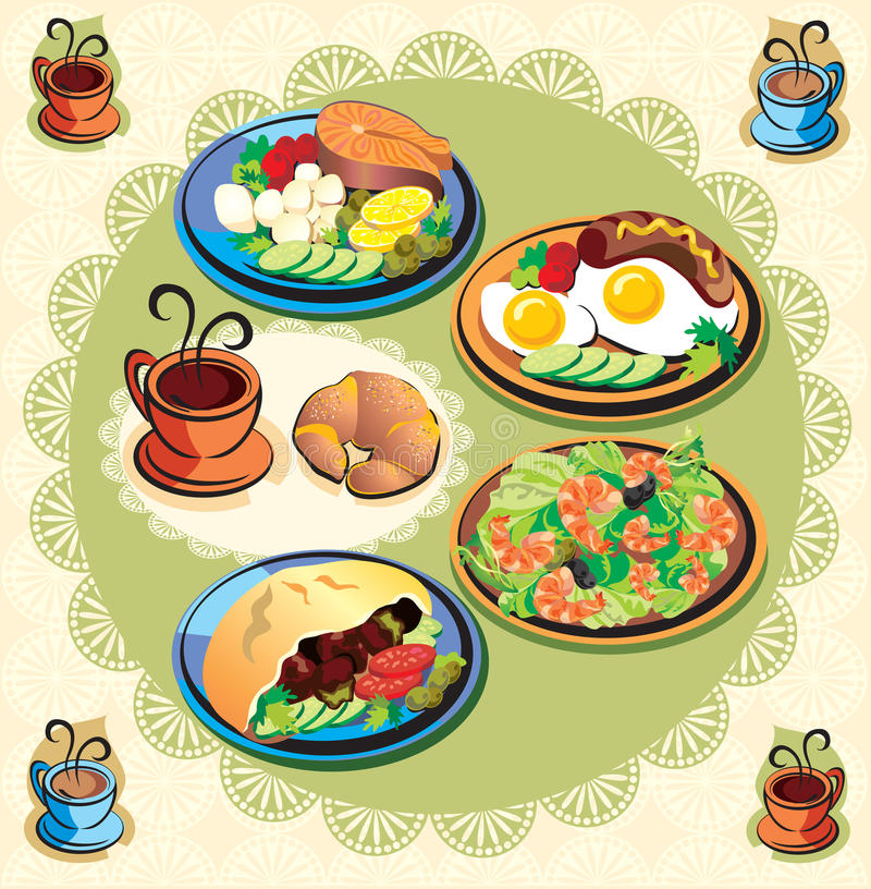Download Menu stock vector. Image of shrimp, meal, lemon, tomato - 21354396