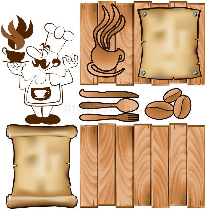 Menu 3 van het restaurant stock illustratie