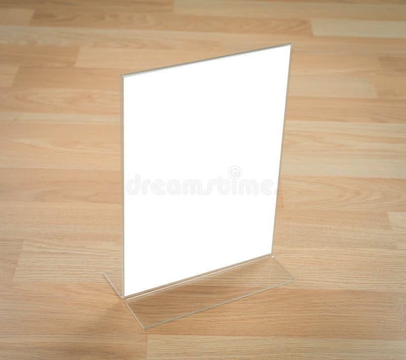 Menu acrílico transparente do suporte da tabela foto de stock
