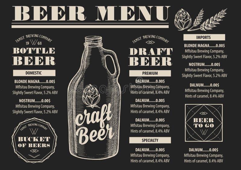 Menu beer restaurant, alcohol template placemat. vector illustration