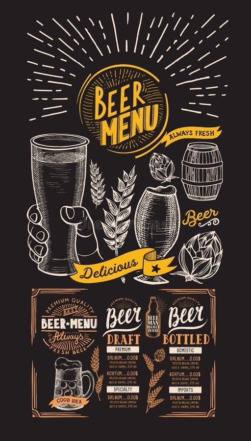Menu for beer restaurant. Design template with hand-drawn graphic illustrations. Vector beverage flyer for bar. stock illustration