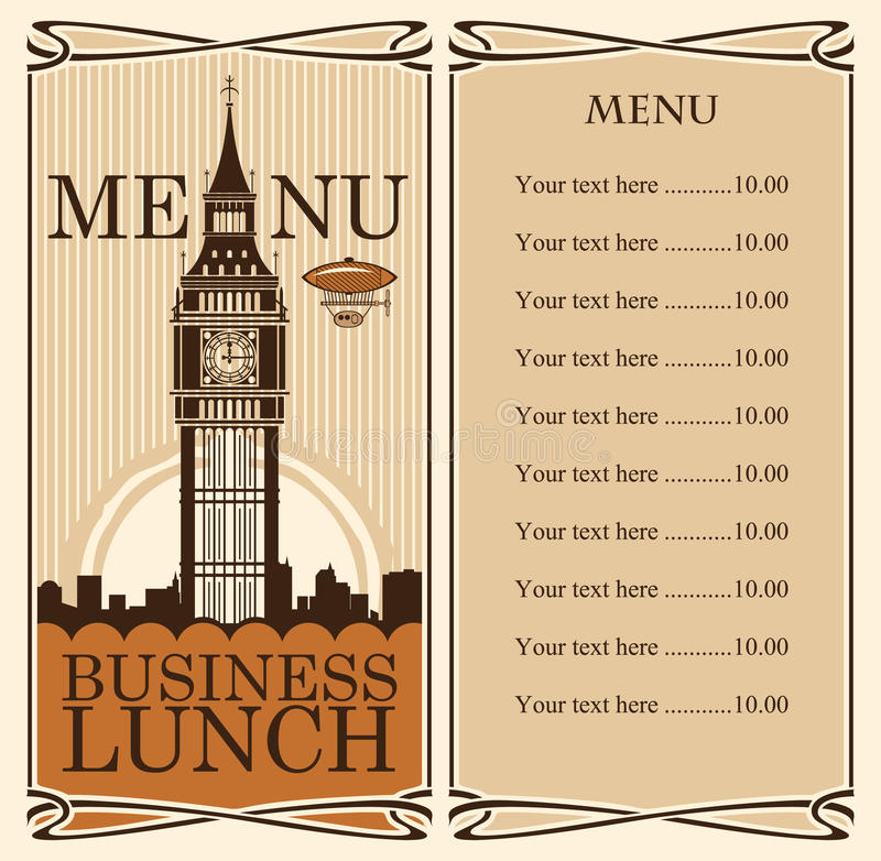 Menu with Big Ben. In London against backdrop of royalty free illustration