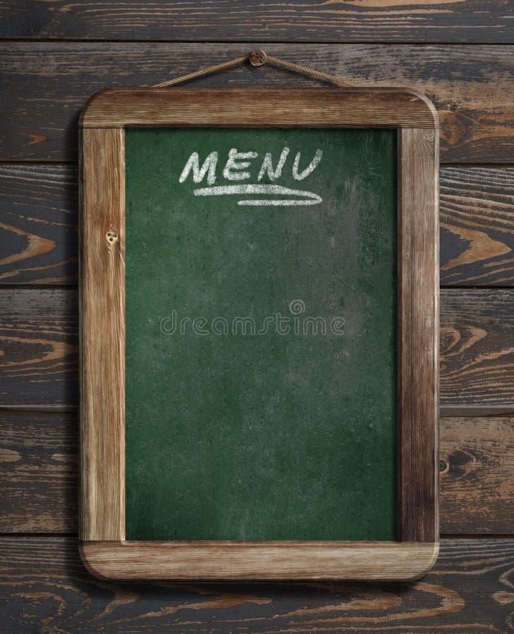 Menu blackboard obwieszenie na drewnianej ściany 3d ilustraci obraz royalty free
