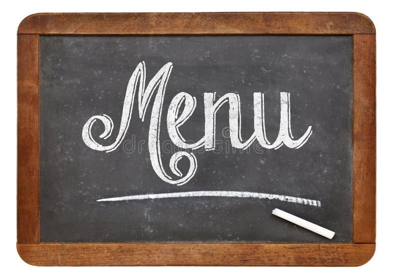 Menu blackboard sign stock image