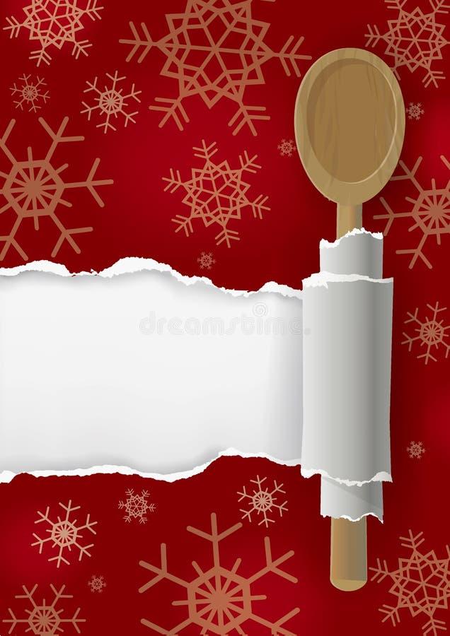 Menu Bożenarodzeniowa czerwień rozdzierał papierowego tło z drewnianą łyżką ilustracji