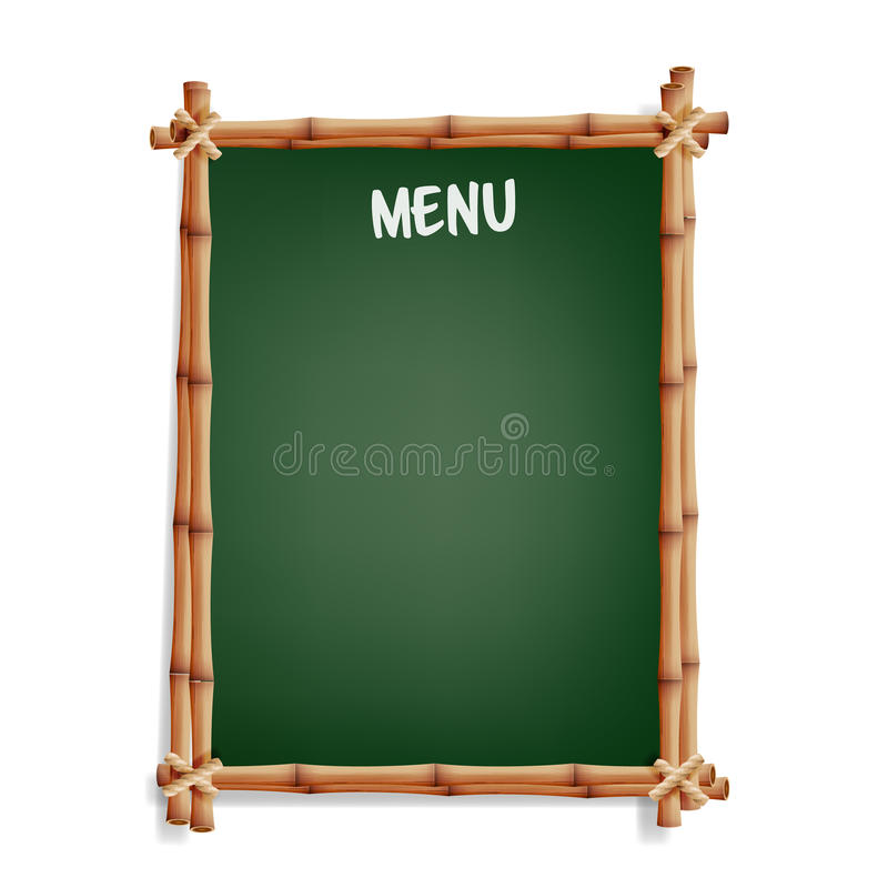 Menu Board. Cafe Or Restaurant Menu Bulletin Black Board. Isolated On White Background. Realistic Green Chalkboard With Wooden Fra. Menu Board. Cafe Or royalty free illustration
