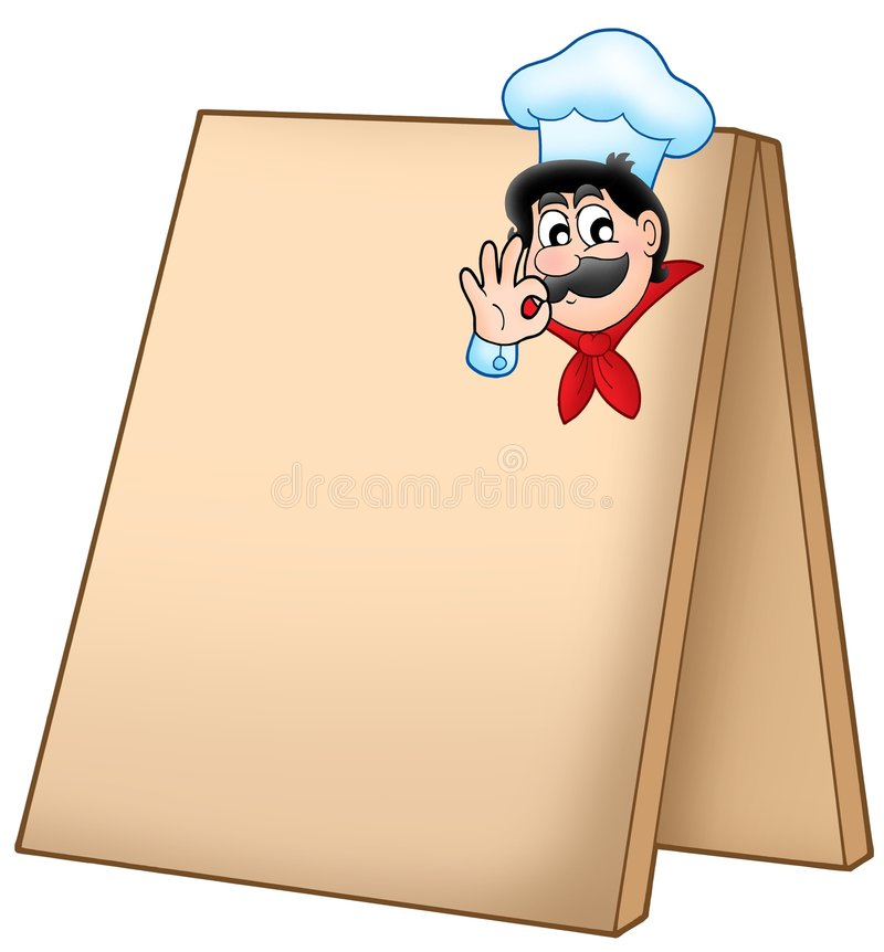 Menu board with cartoon chef