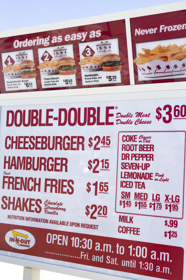 Menu board In-N-Out stock images