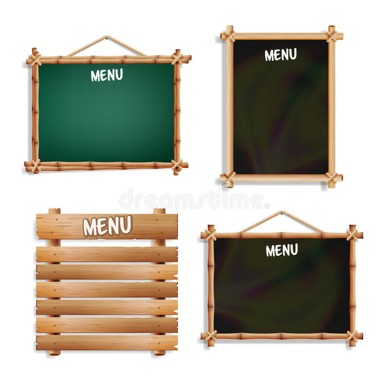 Menu Boards Set. Isolated On White Background. Realistic Empty Black And Green Signboard Chalkboard With Wooden Menu Frame Hanging vector illustration