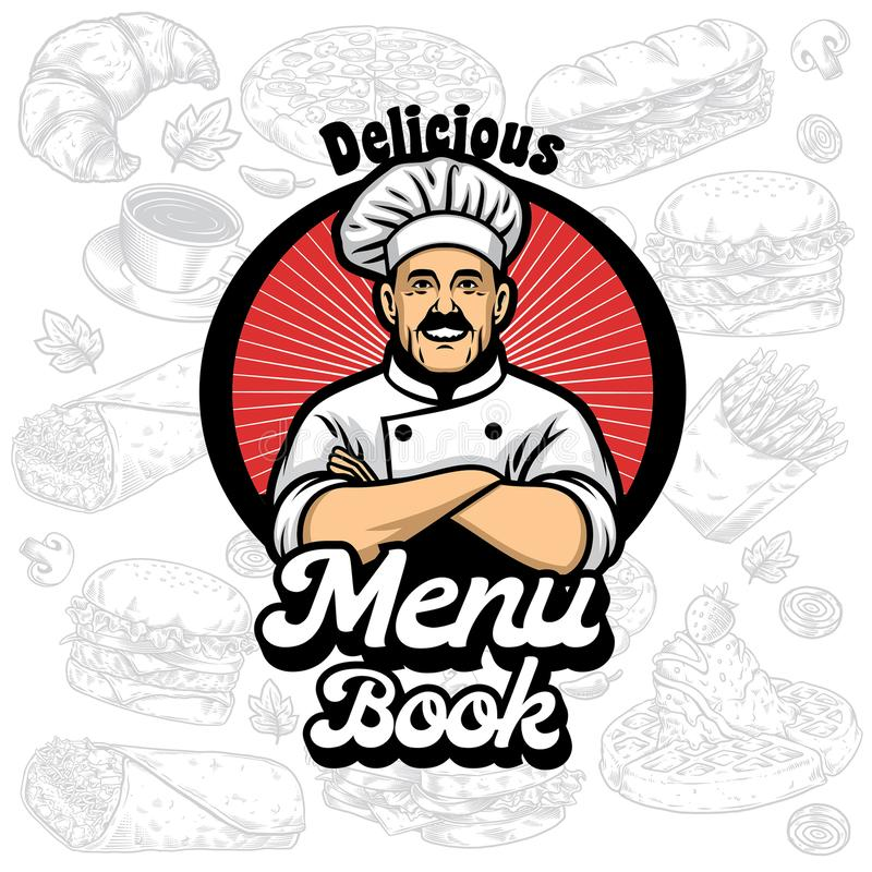 Menu book cover design with chef cartoon vector illustration