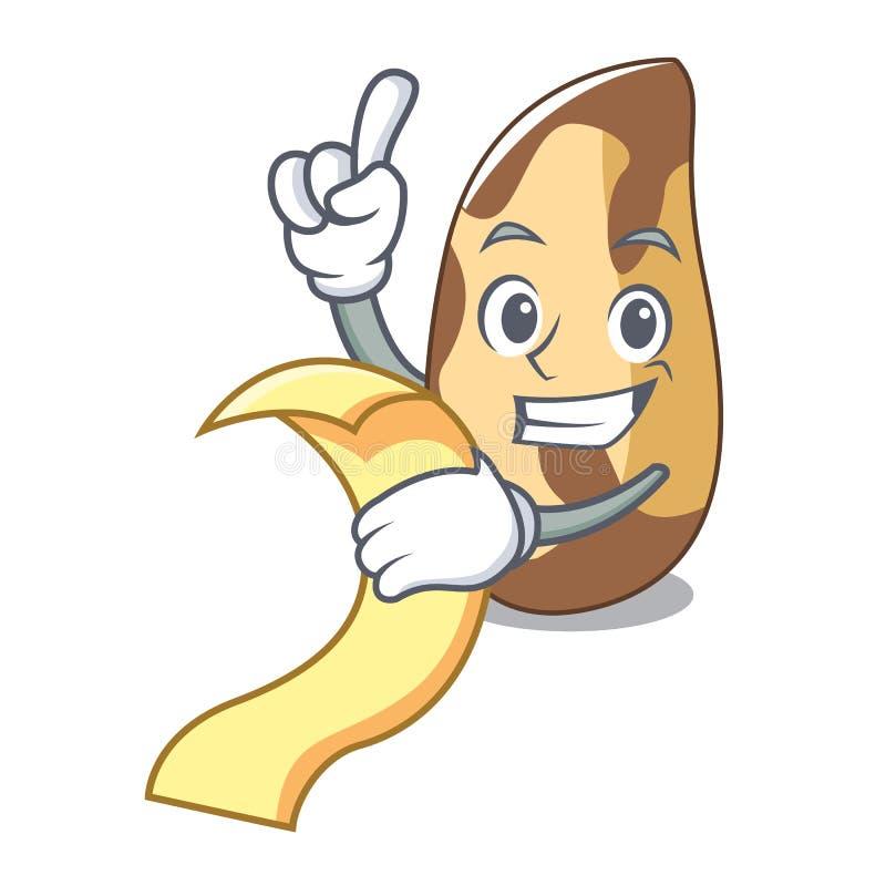 With menu brazil nut mascot cartoon vector illustration