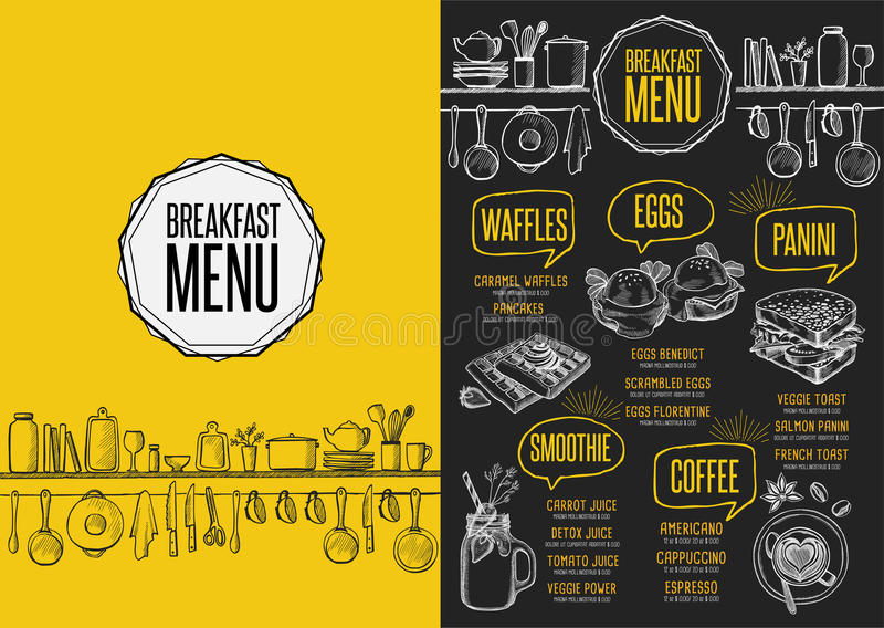 Menu breakfast restaurant, food template placemat. Breakfast menu placemat food restaurant brochure, template design. Vintage creative dinner flyer with hand vector illustration