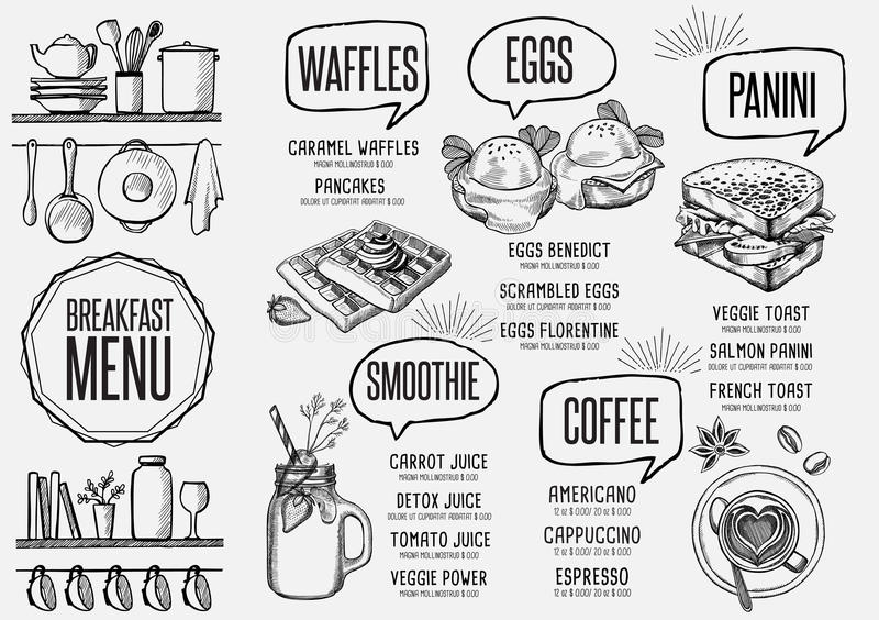 Menu breakfast restaurant, food template placemat. Breakfast menu placemat food restaurant brochure, template design. Vintage creative dinner flyer with hand royalty free illustration