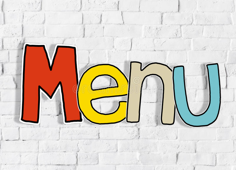 Menu Brick wall Single Word Text Background Clean Concept.  royalty free stock photography