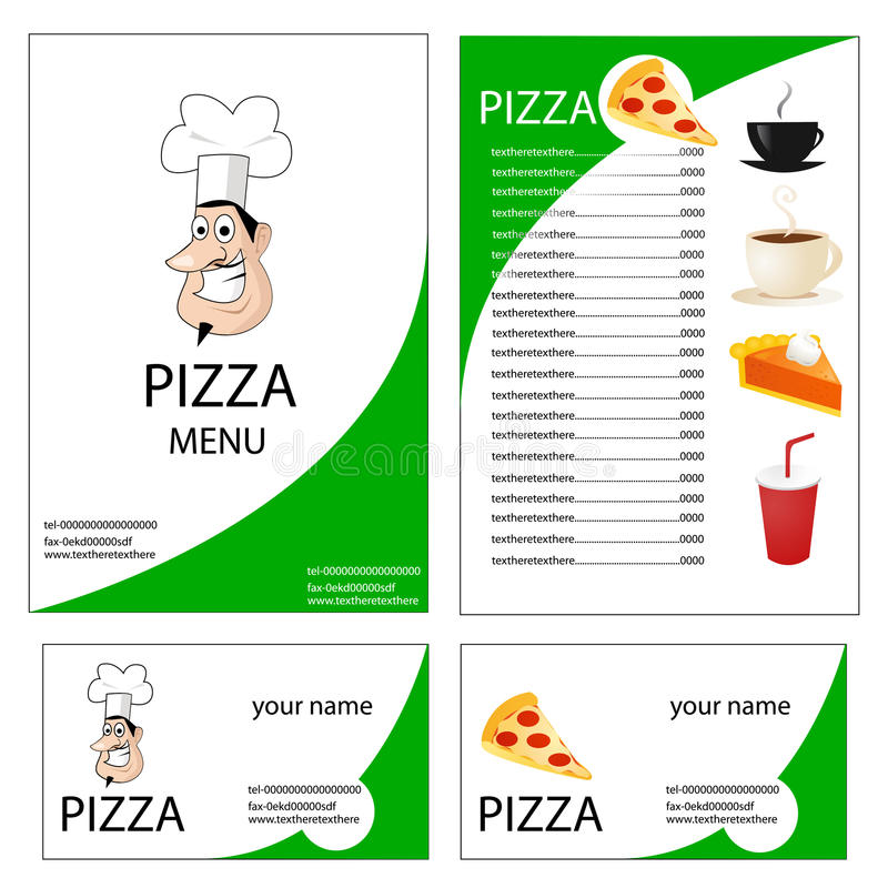 Menu and business card for pizza stock illustration