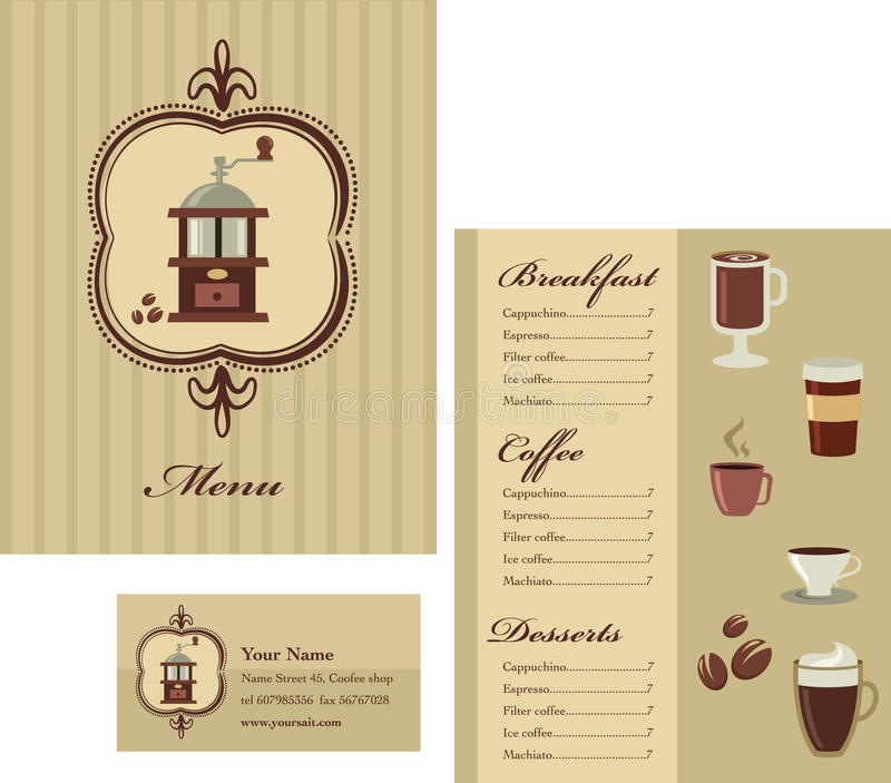 coffee price list template - menu and business card template design coffee stock