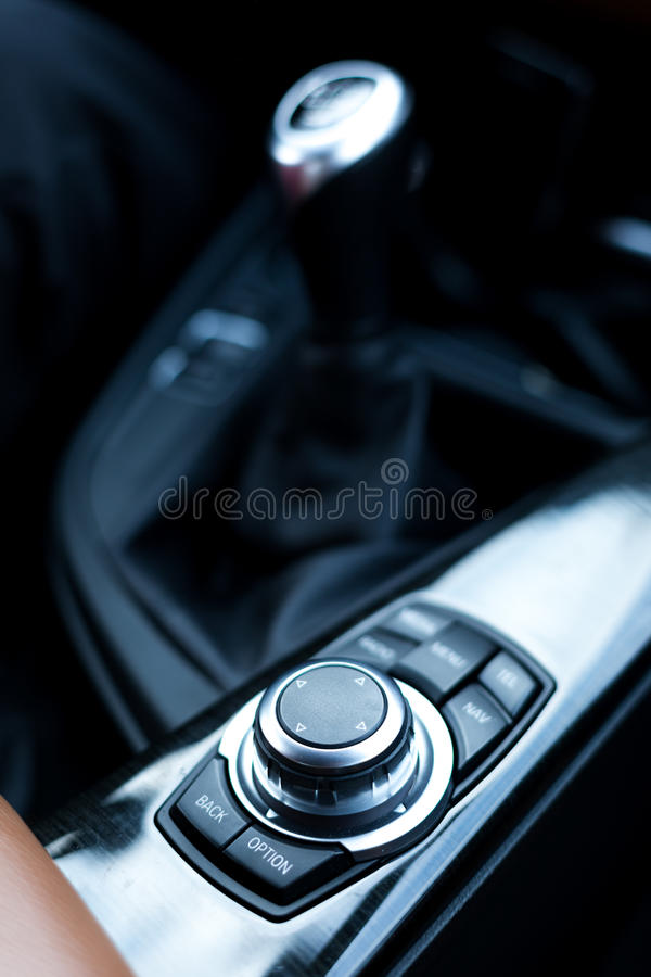 Menu button and shift gear stick. Menu button and manual shift gear stick stock image