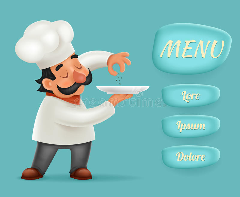 Menu Buttons Interface Chef Cook Serving Food 3d Realistic Cartoon Character Design Vector Illustrator. Menu Buttons Interface Chef Cook Serving Food Realistic vector illustration