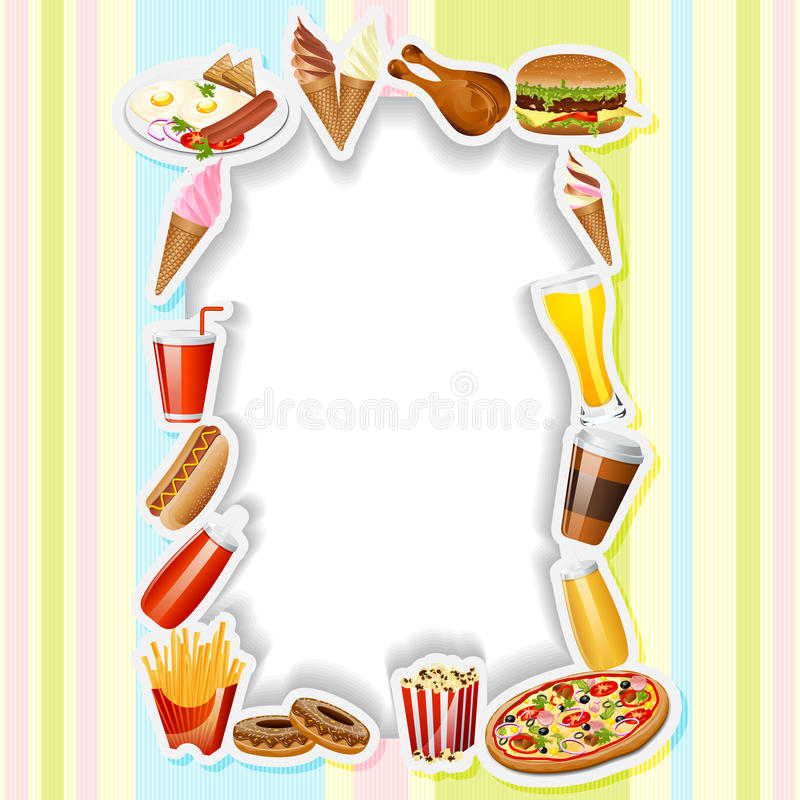 Menu Card with Fast food. Easy to edit vector illustration of fast food in menu card boarder royalty free illustration