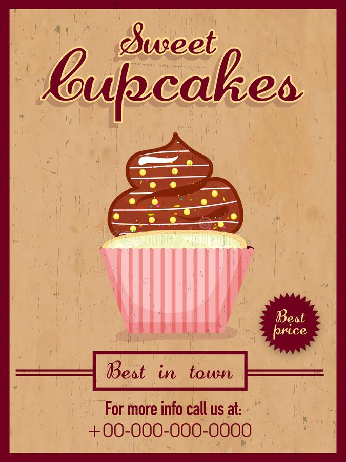 menu card  flyer or brochure for cupcakes  stock