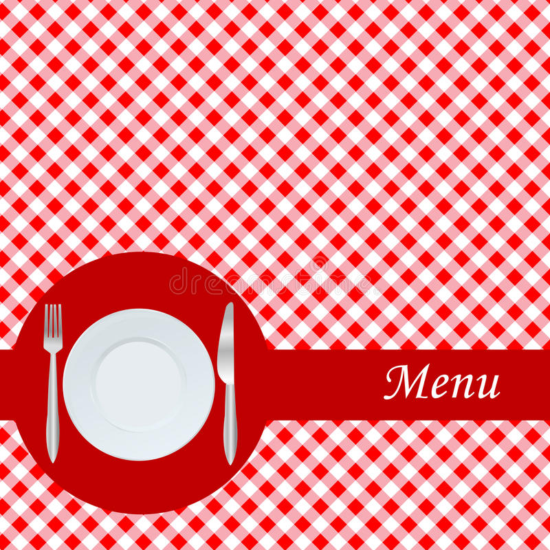 Menu card with plate, fork and knife vector illustration