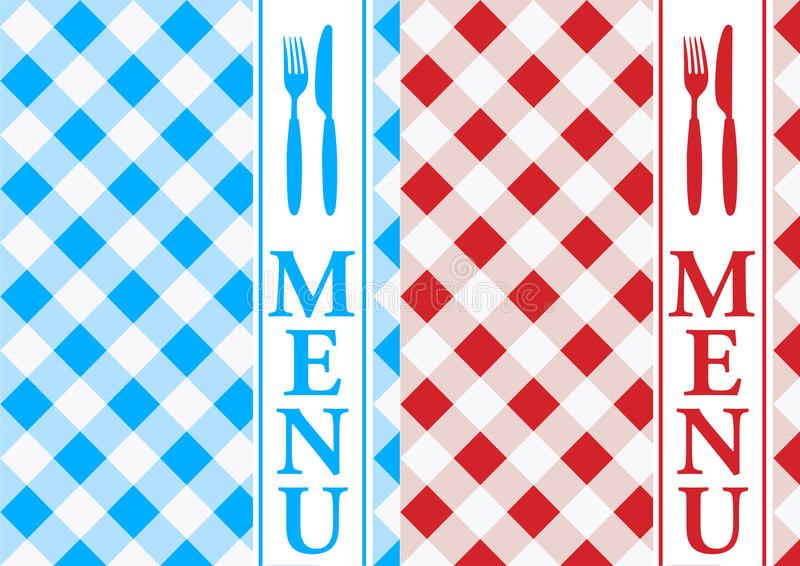 Menu Card - Red and Blue Gingham