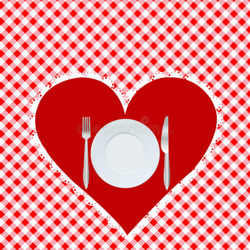 Menu card with red heart stock illustration