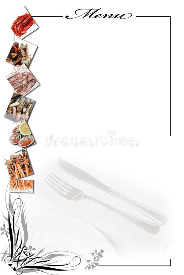 Download Menu Card For Seafood In White. Stock Photo - Image: 13561794