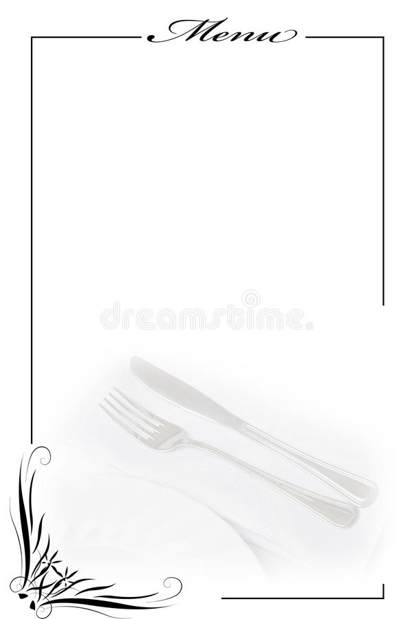 Menu Card In White. Stock Image