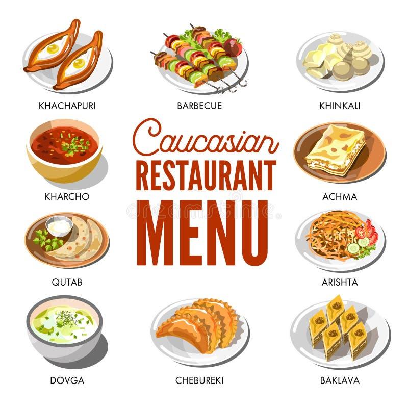 Menu caucasien de restaurant avec les plats traditionnels des plats illustration stock